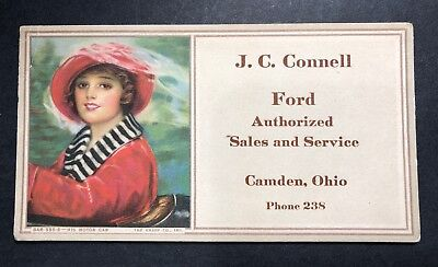 Camden Ohio Ford Car Auto Advertising Blotter Mini Sign 1920s  Flapper Girl