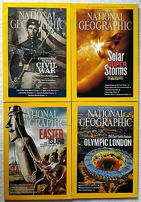4 x National Geographic Magazines May, June, July & August 2012