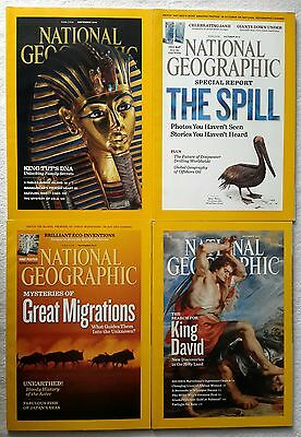 4 x National Geographic Magazines September, October, November & December 2010