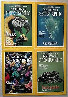 4 x National Geographic Magazines January, February, March & April 1994