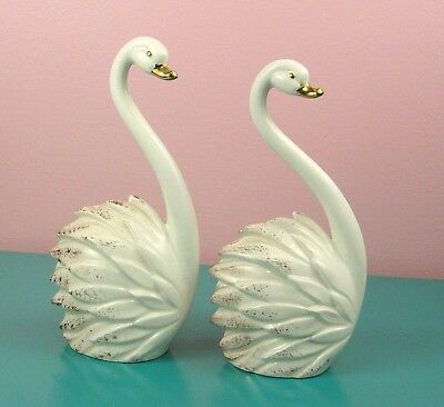 Roselane Mid Century Swans Pair White and Gold Stylized Vintage 1950s