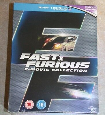 Fast and Furious 1-7 Blu Ray Box Set, Region 0, Brand New/Sealed, UK Ed, $0 Ship