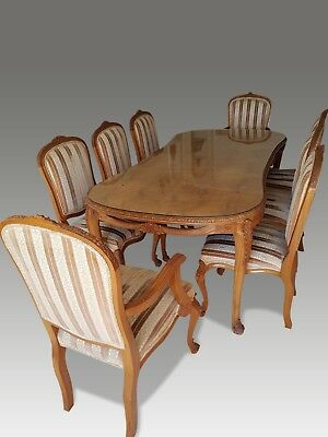 Stunning Burr Walnut Regency Style Dining Table Set, Pro French Polished