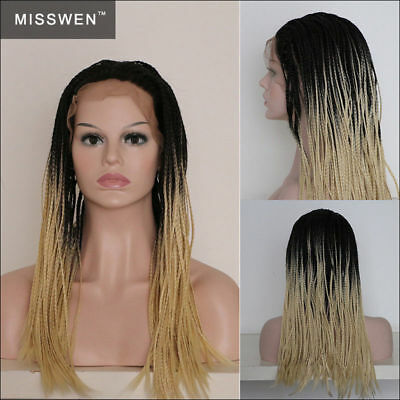 "24"" Braided Lace Front Wig Box Braiding Natural Ombre Blonde Synthetic Hair"