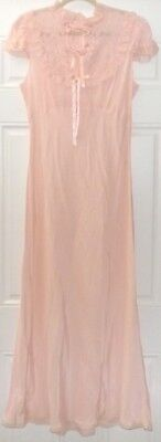 Vintage Old Hollywood 1930s Nightgown Lace Satin Blush Pink Peach Bias Cut