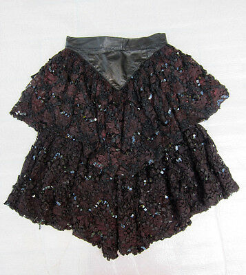 Unsual Vintage 1980s Leather & Lace w/ Sequins Peplum Skirt ~ Size 4 - 6