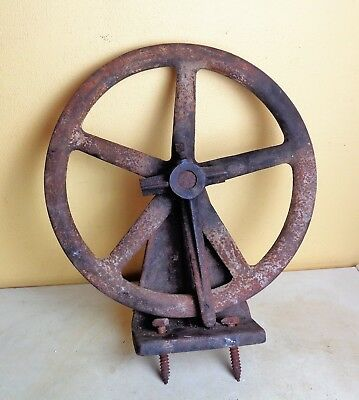 "Antique Heavy Cast Iron Factory Industrial Wheel Steampunk 14 1/2"" Diameter"