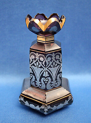Antique Moser/Boston&Sandwich? AMETHYST 6-sided SILVER OVERLAY Perfume Bottle