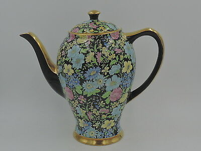 Vintage Empire Chintz Black Marguerite Teapot/Coffee Pot Beautiful!