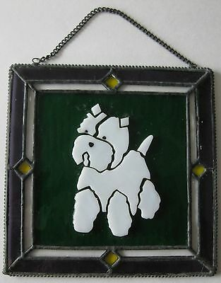 "NEW Stained Glass Westie Dog Sun Catcher Window Art 6.25"" x 6.25"""