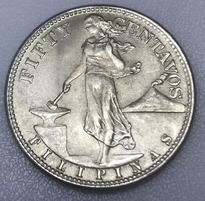 1944-s Philippines 50 Fifty Centavos 75% Silver United States Of America Coin Asia