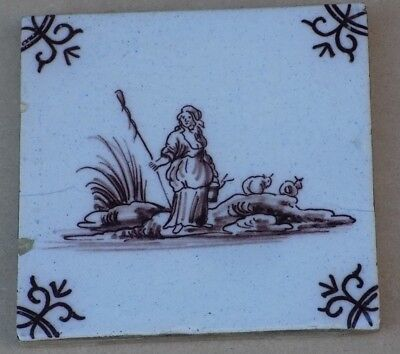 Antique Pictorial Delft Tile - Shepherdess