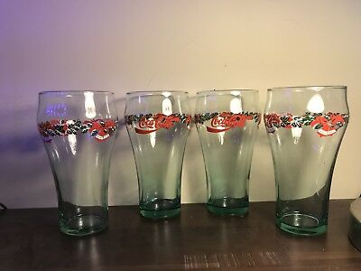 Coca Cola Vintage Glasses Christmas Holiday Bells Collectable Pint Glasses Set 4