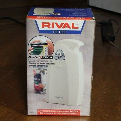 Rival Electric Can Opener and Knife Sharpener, Safely Opens Can from Side, New