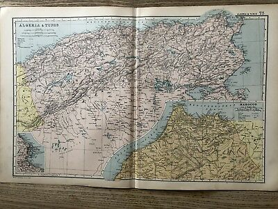 1908 Morocco Tunisia Algeria Original Antique Map By G.w. Bacon 110 Years Old