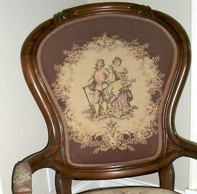 Antique Parlor chair  1800's  Victorian  Needlepoint Brown  cat #39