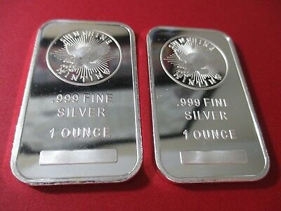 1 oz. Sunshine Mint Silver Bars .999 Fine ( Lot of 2 )