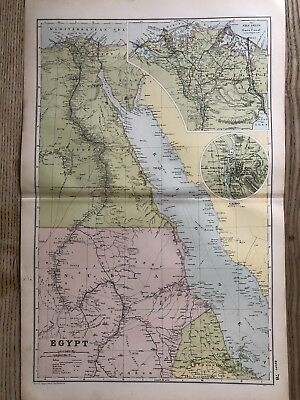 1908 Egypt Original Antique Map By G.w. Bacon 110 Years Old