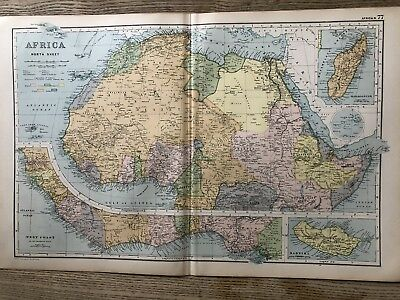 1908 Northern Africa Original Antique Map By G.w. Bacon 110 Years Old
