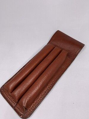Genuine Argentine Leather Pen Holder 3 Pens Pouch - Light Brown