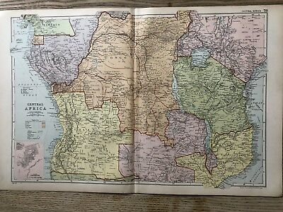 1908 Central Africa Original Antique Map By G.w. Bacon 110 Years Old