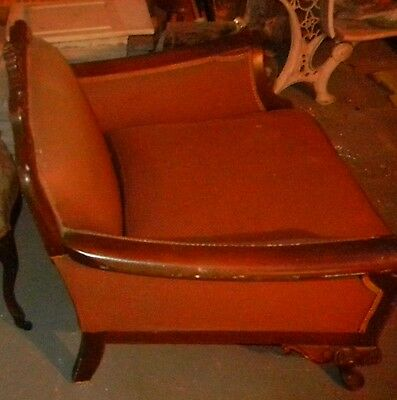 ART DECO- Club  Bergere chair upholstery late  1930's