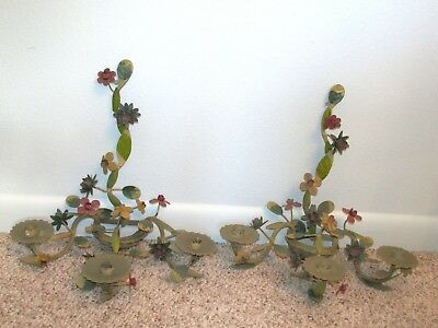 2 Vintage Tole Painted Flower 3 Arm Metal Candelabra Shabby Wall Sconce Set