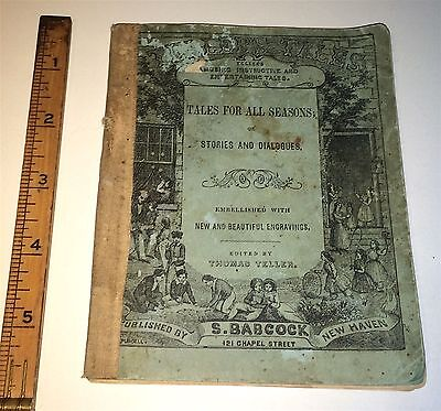 Rare Antique Pre-Civil War American Tales For All Seasons Book! Engravings! Old!