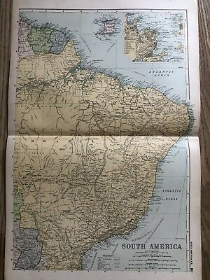 1908 Brazil Original Antique Map By G.w. Bacon 110 Years Old