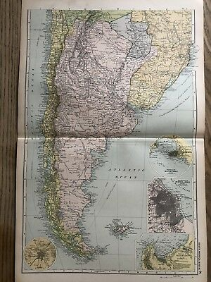 1908 Argentina Chile Uruguay Paraguay Antique Map By G.w. Bacon 110 Years Old