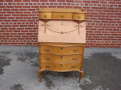 Late Victorian Quartersawn Oak Ladies Desk With Brass Gallery