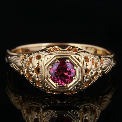 Solid 18K Yellow Gold Pave Setting Flawless Tourmaline Engagement/Wedding Ring