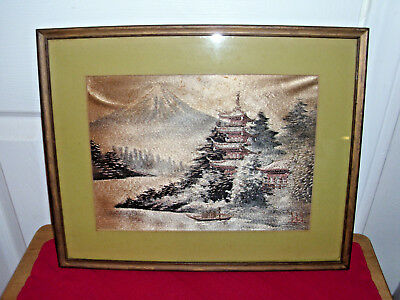 """Vintage Asian Thread """"Picture"""" on Silk - Framed"""