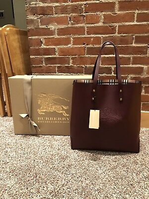 59af36df3454 100% AUTHENTIC BURBERRY Embossed Crest Leather Tote Burgundy ...