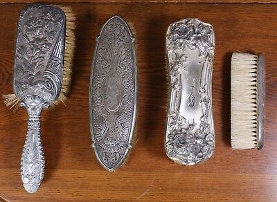 4 Silver Plate & Sterling Mixed Lot Antique Victorian Art Nouveau Shabby Brushes