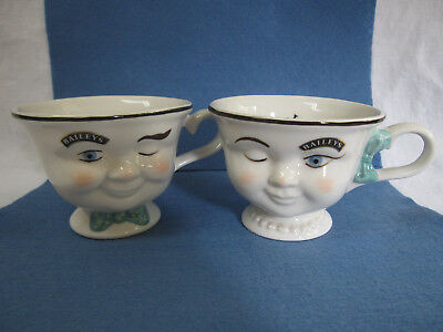 Baileys YUM Cups Winking Eye Mr & Mrs Coffee Cups Mugs 1996 Orig Owner Free Shot
