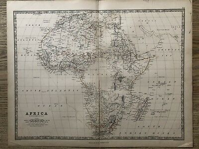1869 Africa Original Antique Hand Coloured Map By A.k. Johnston 150 Years Old