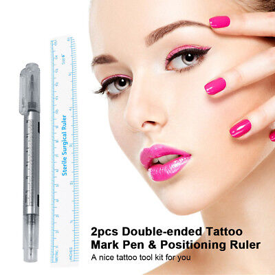 Waterproof 2Pcs Microblading Tattoo Eyebrow Skin Marker Pen & Measure Ruler G4C4
