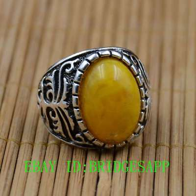 Tibetan Silver Hand-carved  Inlaid Amber Beeswax Rings