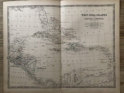 1869 West Indies Antique Hand Coloured Map By A.k. Johnston 150 Years Old