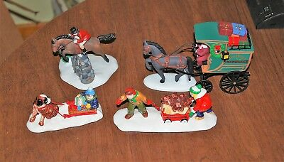 Department 56 Village accessories - lot of 4 incl horse & wagon