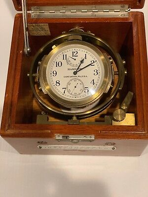 WWII HAMILTON SHIP MOUNTED CHRONOMETER WATCH, MODEL 22-21 Jewels, Mfg. 1943