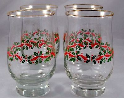 4  Libbey Christmas Holiday Holly Berries 14 oz Tumbler Glasses Arby's