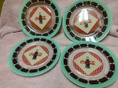 "RETRO COCA COLA COKE SODA ARCOROC FRANCE GLASS DINNER PLATE DISH 9.5"" DEAL set 4"