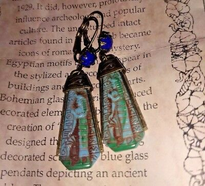Shelley Cooper Art Deco Egyptian Eye of Horus Hieroglyphics Glass Earrings