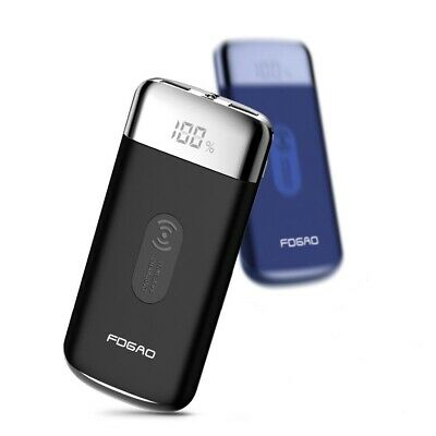 USA FDGAO Qi Wireless Charger 10000mAh Power Bank 2 USB LCD Backup Battery Pack