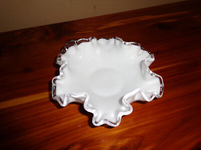 "Vintage FENTON Silver Crest - Milk Glass Candy Dish Bowl - Ruffled Rim  6"" Great"
