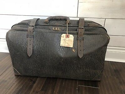 Antique Vintage Luggage Bag Black Leather w/ Strapping Suitcase Luggage