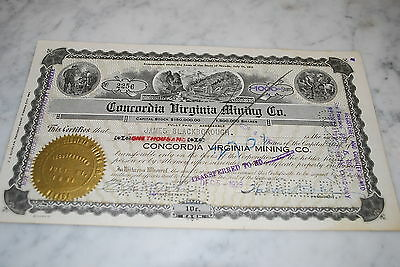 Stock Certificate - Concordia Virginia Mining Co. –  Nevada 1928