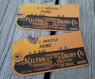 2 Antique Milton Dairy Co Ice Creamery Butter Tags St. Paul, Mn.
